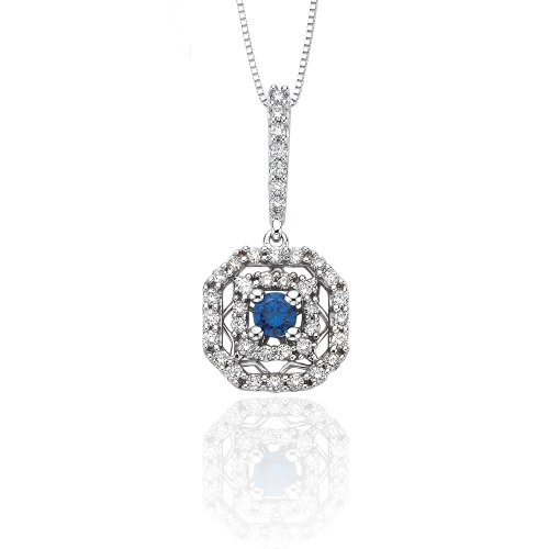 10K White Gold 1/2 ct. Diamond and Blue Center Diamond Pendant with Chain