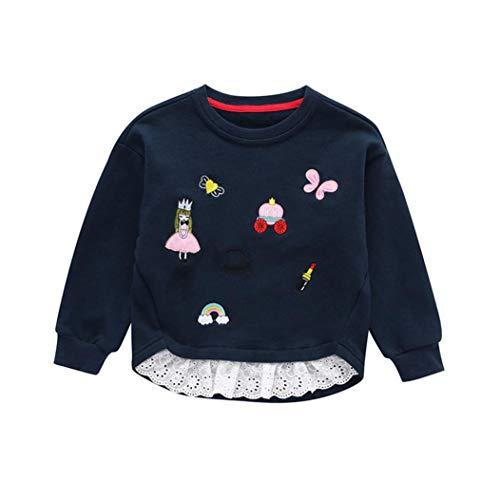 SUNTEAMO Toddler Infant Baby Girls Embroidery Splicing Sweatshirt