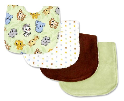 Trend Lab 4 Piece Bib Set, Chibi Zoo (Chibi Zoo)