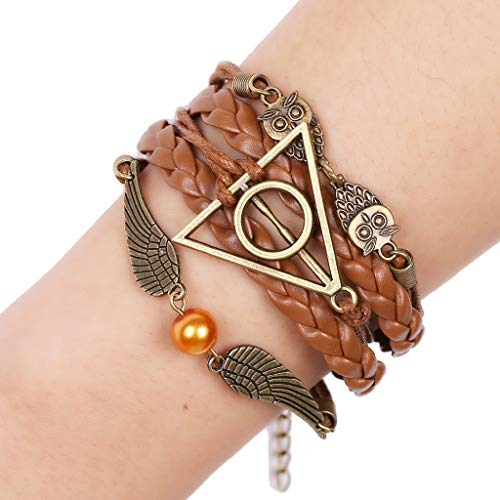 Lannmart Ladies Nangel Wings Owl Geometric Modeling Alloy Accessories Wax Rope Leather Hand-Woven Bracelet Retro Style Creative Jewelry
