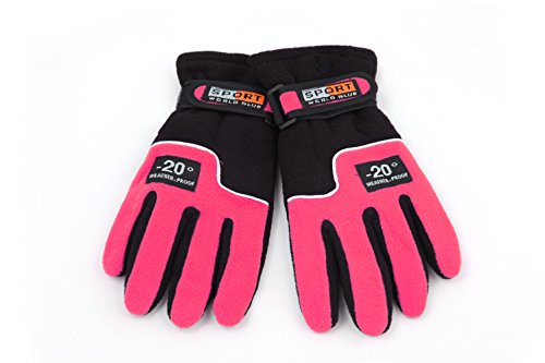 Ski Gloves,Women's Thicker Outdoor Windproof and Warm Fleece Gloves Rose Red - Girls Glacier Fleece Pant