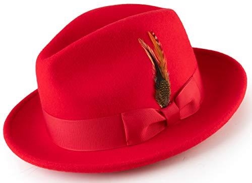 Montique Long Lasting Lightfelt 2 ½ in Wide Brim Wool Felt Dress Hat for Men H-60 (X-Large, (Feather Fancy Red Wool Hat)