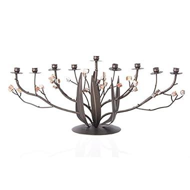Beautiful Bronze Narcissus Hanukkah Menorah with Free Menorah Lighting Instruction Guide
