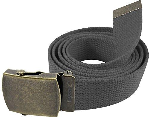 "Enimay 56"" Military Style Canvas Web Belt w/ Brass Roller Buckle Dark Grey"