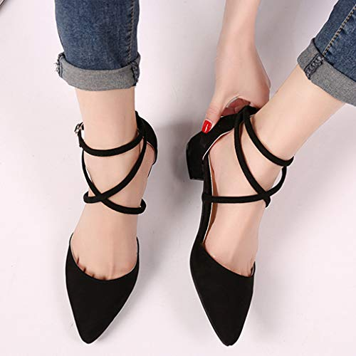 Mode Coloré Hauts Escarpins tm Parti Simples Travaille Noir Femmes Sandale Bout Chaussures Talons Cheville Pointu ArARwEq4