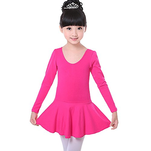 Toomett Girls Dance Ballet Dress Long Sleeve Leotard #1001Long-Crotch Closed-Rose Red/Tag L Crotch Long Sleeve