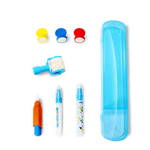 Water Aquadoodle Drawing Pens Replacement - FREE TO FLY 3 Kinds of Pens accessories for Aqua Doodle Water Drawing Mat with 3 Stamps 1 Magic Roller and 1 Storage Case for Age 2 3 4 5 6 kids