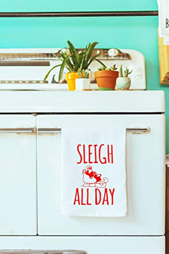 (Funny Holiday Kitchen Cloth, Funny Dish Towel, Sleigh All Day, Tea Towel)