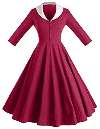 GownTown Womens Dresses cape collar 3/4 Sleeves 1950s Vintage Dresses Swing Stretchy Dresses,GRAPE,L