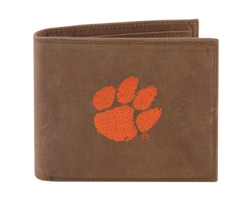NCAA Clemson Tigers Zep-Pro Crazyhorse Leather Passcase Embroidered Wallet, Light Brown by ZEP-PRO