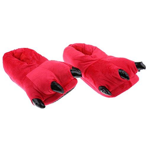 Natale Da Casa Peluche MagiDeal Di Pantofole Artigliate Scarpe Rosso Zampa Morbide Dinosauro Regalo OgPqxfO0
