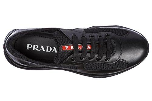 Prada Damesko Sneakers Kvinders Lædersko Sneakers Sort CkQfTK1J9