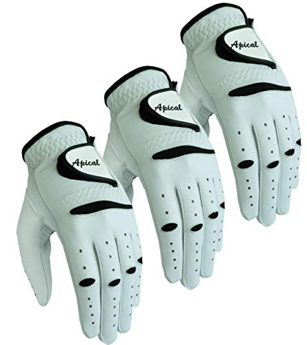 APICAL 3-Pack Men's All Weather Genuine Cabretta Leather Golf Gloves Right Handed Golfers (Worn on The Left Hand) (2XL, Left)