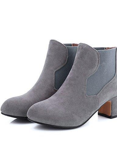 XZZ/ Damen-Stiefel-Kleid / Lässig-Kunstleder-Blockabsatz-Modische Stiefel-Schwarz / Grau / Beige gray-us5 / eu35 / uk3 / cn34