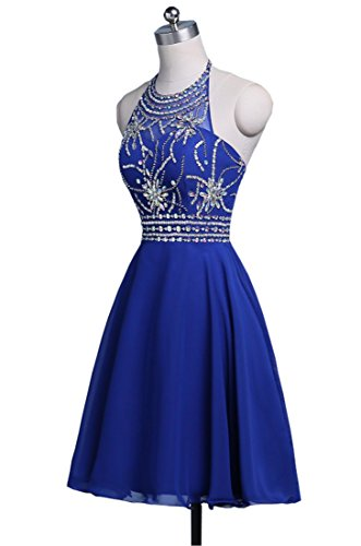 Beading Halter Backless Chupeng Short Prom Homecoming Chiffon Purple Crystal Gown Dress Women s IUwIxEgAq