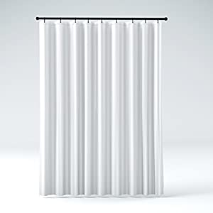 STALL Size Hotel Quality Mildew Resistant Washable Fabric Shower Curtain  Liner, Water Repellent, Elegant White Tonal Damask Stripe, Eco Friendly U0026  PVC Free ...