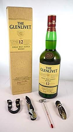 The Glenlivet 12 year old Malt Whisky bottled 1990's Original Packaging en una caja de regalo con cuatro accesorios de vino, 1 x 700ml