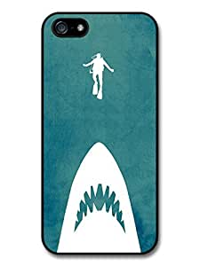 Jaws Minimalist Movie Poster with Shark and Scuba Diver case for iPhone 5 5S A8221 wangjiang maoyi