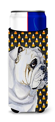 Bulldog English Candy Corn Halloween Portrait Ultra Beverage Insulators for slim cans -