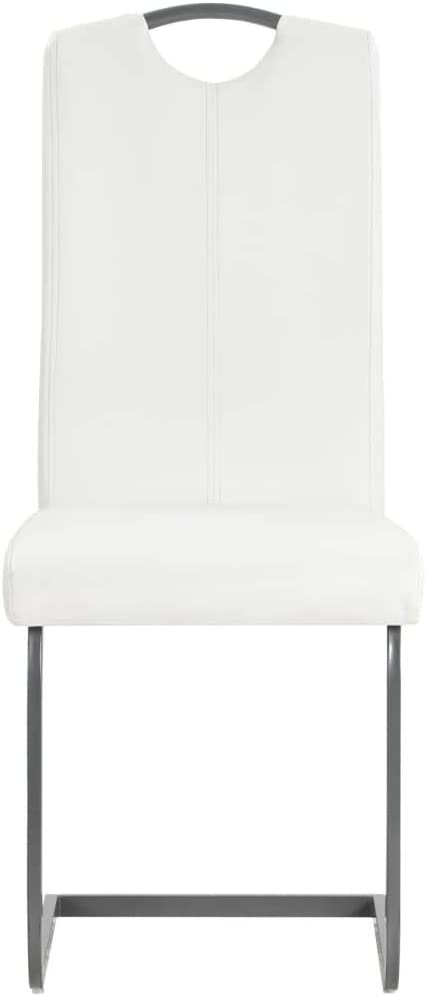 Festnight Lot de 6 pcs Chaise de Salle /à Manger en Cuir Chaise de Cuisine 43 x 55 x 100 cm Blanc