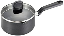 T-fal A68824 Soft Sides Nonstick Thermo-Spot Dishwasher Safe Oven Safe Sauce Pan Cookware, 3-Quart, Black