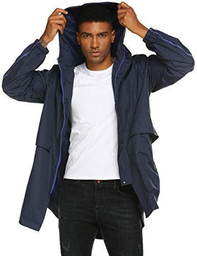 Mens Travel Jacket Waterproof Rain Slickers with Hood Big and Tall Raincoat -