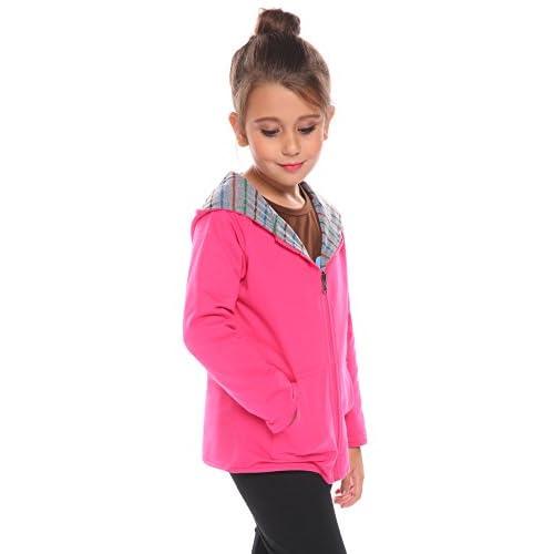 Zaclotre Girls Stripe Reversible Hoodie Coat Fleece Zip Jacket
