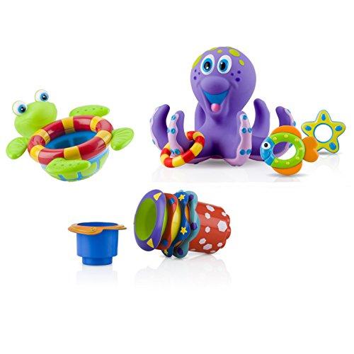 Nuby Bundle of 3 Toys - 5 Splish Splash Stacking Cups 6152, 1 Octopus Floating Bath Toy 6144, 1 Floating Turtle 6145, 18 M+
