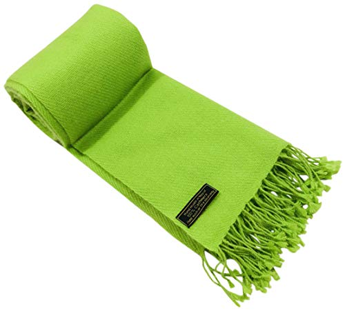 Lime Green High Grade 100% Cashmere Shawl Wrap Hand Made in Nepal CJ Apparel NEW