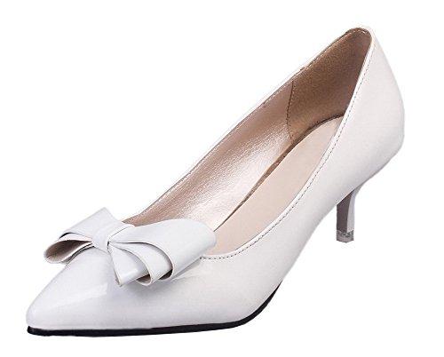 Femme Tire Correct Chaussures Shoes Talon Pointu À Blanc Légeres Pu Cuir Ageemi Bwpa5q7Ox