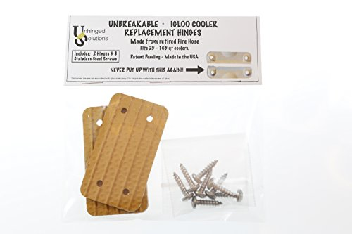 Unhinged Solutions Igloo Cooler Replacement Hinges, (Set of 2) Unbreakable, Repurposed Fire Hose