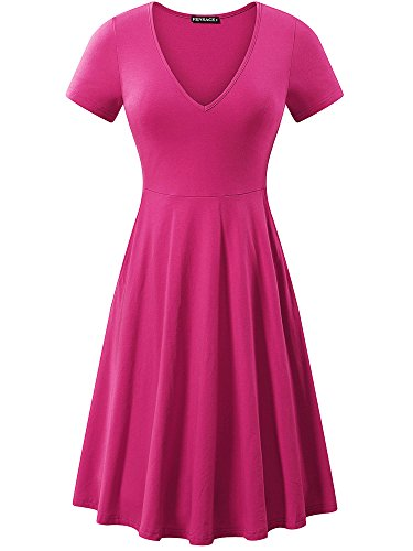 FENSACE Womens Ladies Dresses Short Sleeve Midi Dress XX-Large -