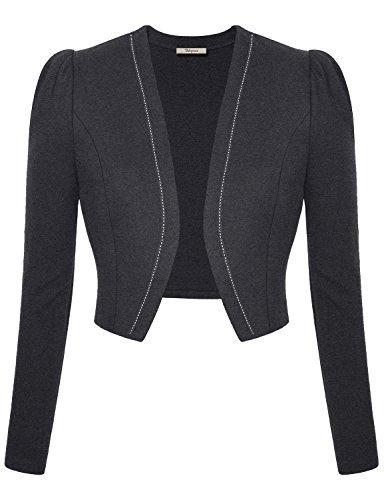 Blazer+for+Juniors%2CShort+Coat+for+Women+Bebonnie+Women+Long+Sleeves+Cropped+Cotton+Open+Front+Cute+Casual+Work+Office+Lightweight+Clothing+Suiting+Separates+Jacket+Blazers+Tops+Dark+Gray+Large