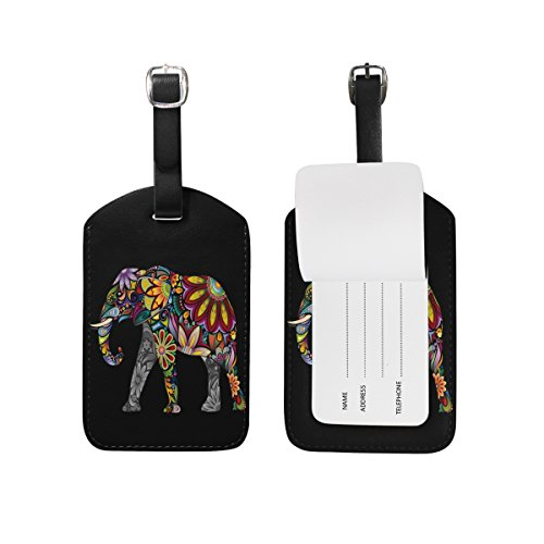 Use4 Black Indian Elephant Luggage Tags Travel ID Bag Tag for Suitcase 1 - Tag Luggage 1