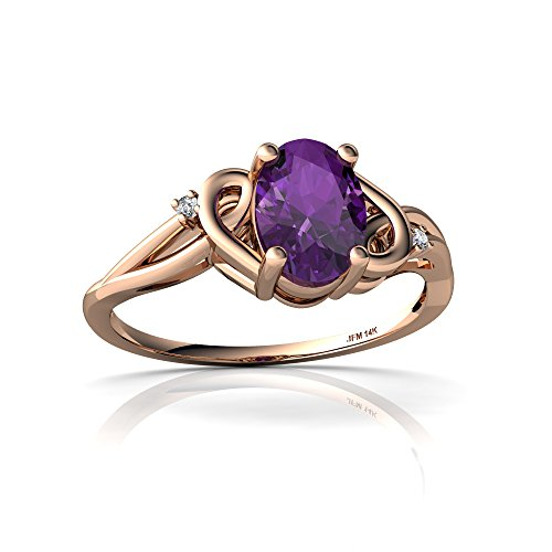 14kt Rose Gold Amethyst and Diamond 7x5mm Oval Swirls Ring - Size 6.5 ()