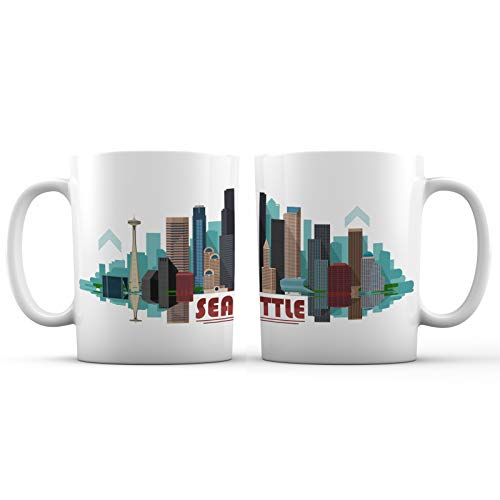 Seattle City Skyline View Ceramic Coffee Mug - 11 oz. - Awesome New Design Colorful Decorative Souvenir Gift Cup for Visiting Friends, Tourists, Men and Women, Washington
