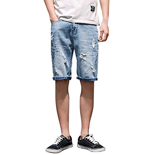 Men's Fashion Ripped Distressed Short Jeans Straight Relaxed Slim Fit Hole Denim Short Pants Plus Size 27-36 (29, Light Blue)