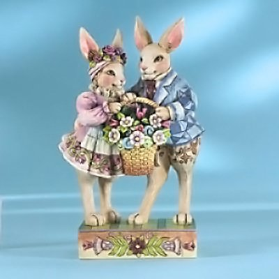 Jim Shore Easter Bunny Couple With Basket - Happy - Easter Jim Bunny Shore