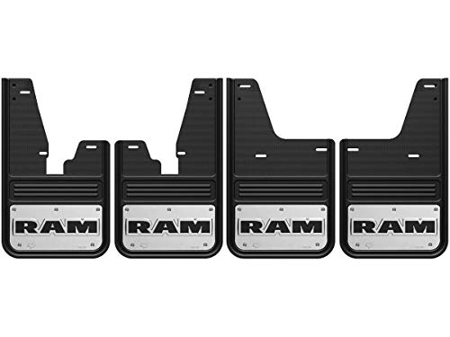 Gatorback RAM Text Logo No-Drill Truck Mud Flaps (2009-18 RAM Set - SRW OEM Flares)