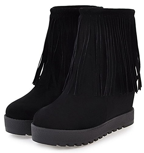 Platform Pull Black Boots Women's Mofri Suede Booties Short Fringes High Ankle Wedge Heel Faux Trendy Invisible on OaqwqAXU