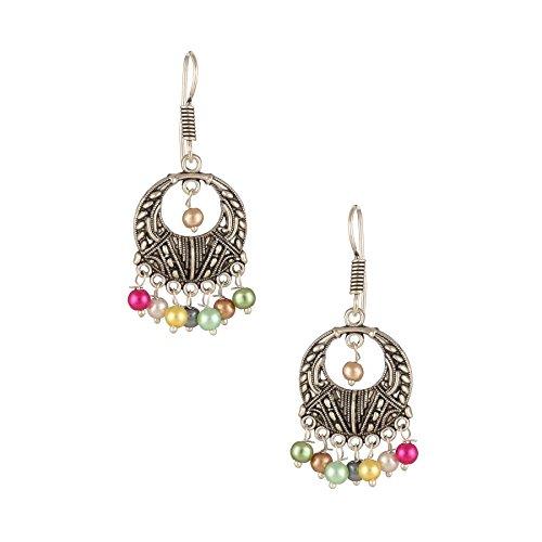 Beaded Earrings Indian Style (INDIAN CAREYS Women's Fashion German Silver Beaded Turkish Style Chandbali Earrings 23 Multi Color)