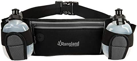 Rangland Sport Water Bottle Hydration Fanny Pack with Large Zippered Pocket Fits Phone,Cash and Cards Water Resistant Waist Pouch for Gym Workouts, Biking, Hiking, Running with 4 Free Bottles Grey
