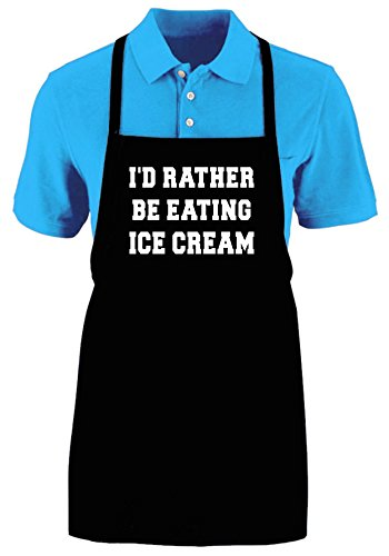 ID RATHER BE EATING ICE CREAM - Funny Apron Ajustable Kitchen Apron by Mighty Ambitious Designs (Image #1)