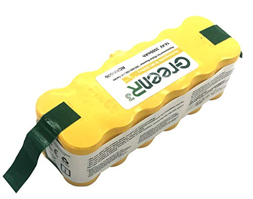 (GreenR3 Ni-Mh 3500mAh 3.5Ah Battery for iRobot Roomba 80501 fit Scooba 450 500 600 AeroVac Series 510 520 530 531 532 535 536 540 550 551 560 570 580 595 614 620 630 650 655 660 680 690 1-PACK)
