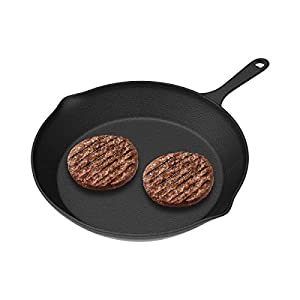 "Home-Complete HC-5003 Frying Pans-Set of 3 Cast Iron Pre-Seasoned Nonstick Skillets in 10"", 8"", 6"" Cook Eggs, Meat, Pancakes, and More-Kitchen Cookware, 3-Pack, Black"