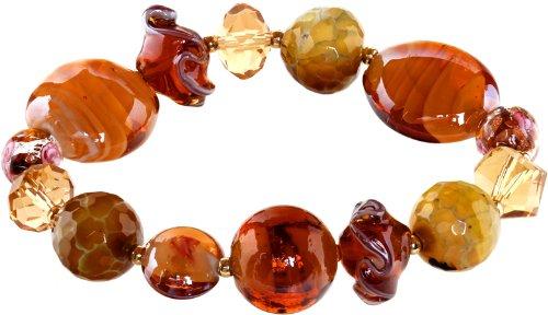 Genuine Italian Murano Glass - Ace Of Diamonds Iraine Italian Murano Glass Stretch Bracelet (Topaz)