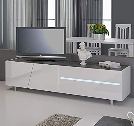 Kasalinea - Mueble para TV (lacada con iluminación LED integrada, diseño Julia), color blanco: Amazon.es: Hogar