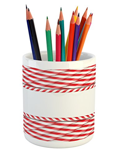(Ambesonne Candy Cane Pencil Pen Holder, Horizontal Border Design with Abstract Traditional Food Pattern Taste of Xmas, Printed Ceramic Pencil Pen Holder for Desk Office Accessory, Red White)