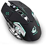 Litake Rechargeable Gaming Mouse Wireless Silent LED Backlit USB Optical Mouse for PC, Black