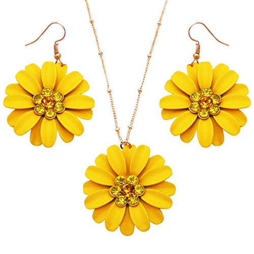 Rosemarie Collections Women's Sunshine Yellow Daisy Flower Pendant Necklace and Earrings Set (Necklace and Earring Set)